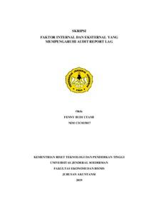 Faktor Internal Dan Eksternal Yang Mempengaruhi Audit Report Lag Repository Universitas Jenderal Soedirman